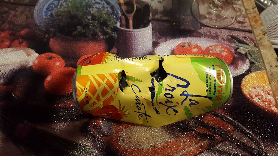 Bear claws can be seen on a can of La Croix sparkling water