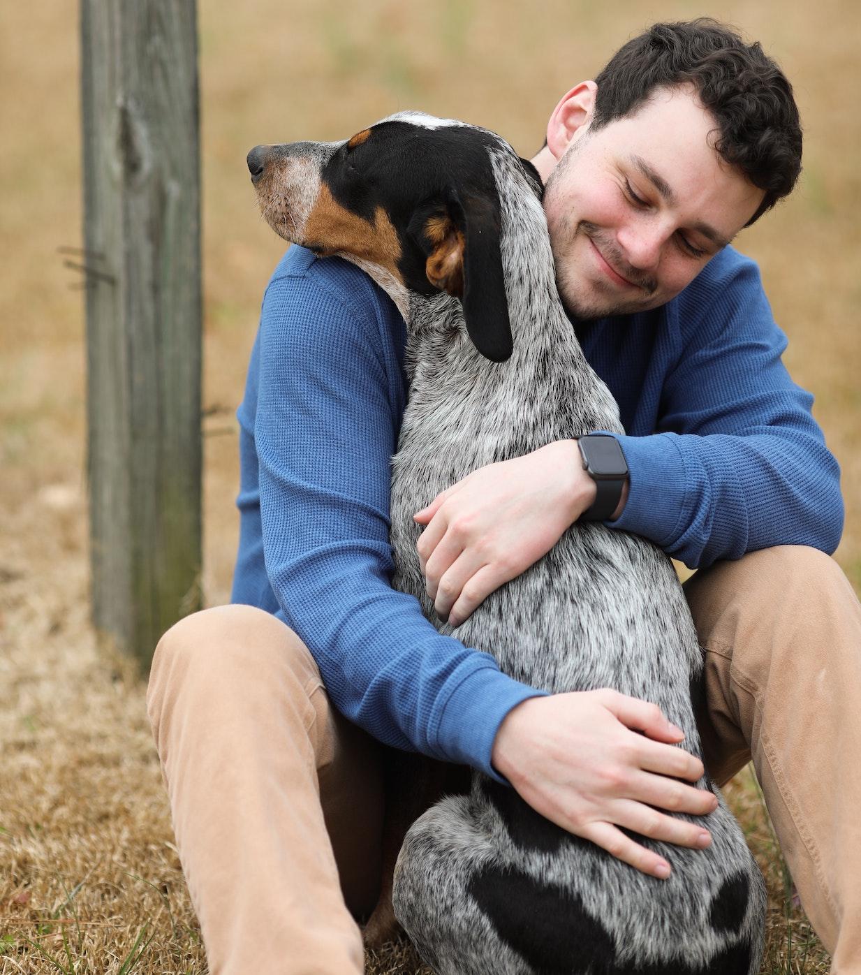 man with pet