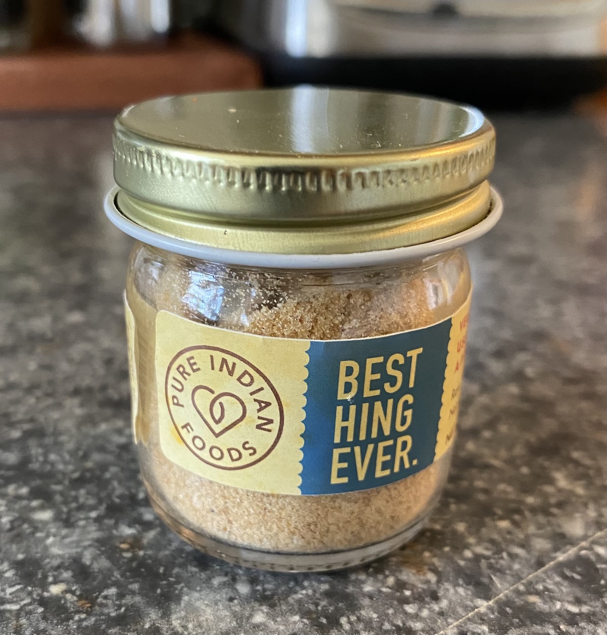 """small glass spice jar that reads Best Hing ever from Pure Indian foods"""